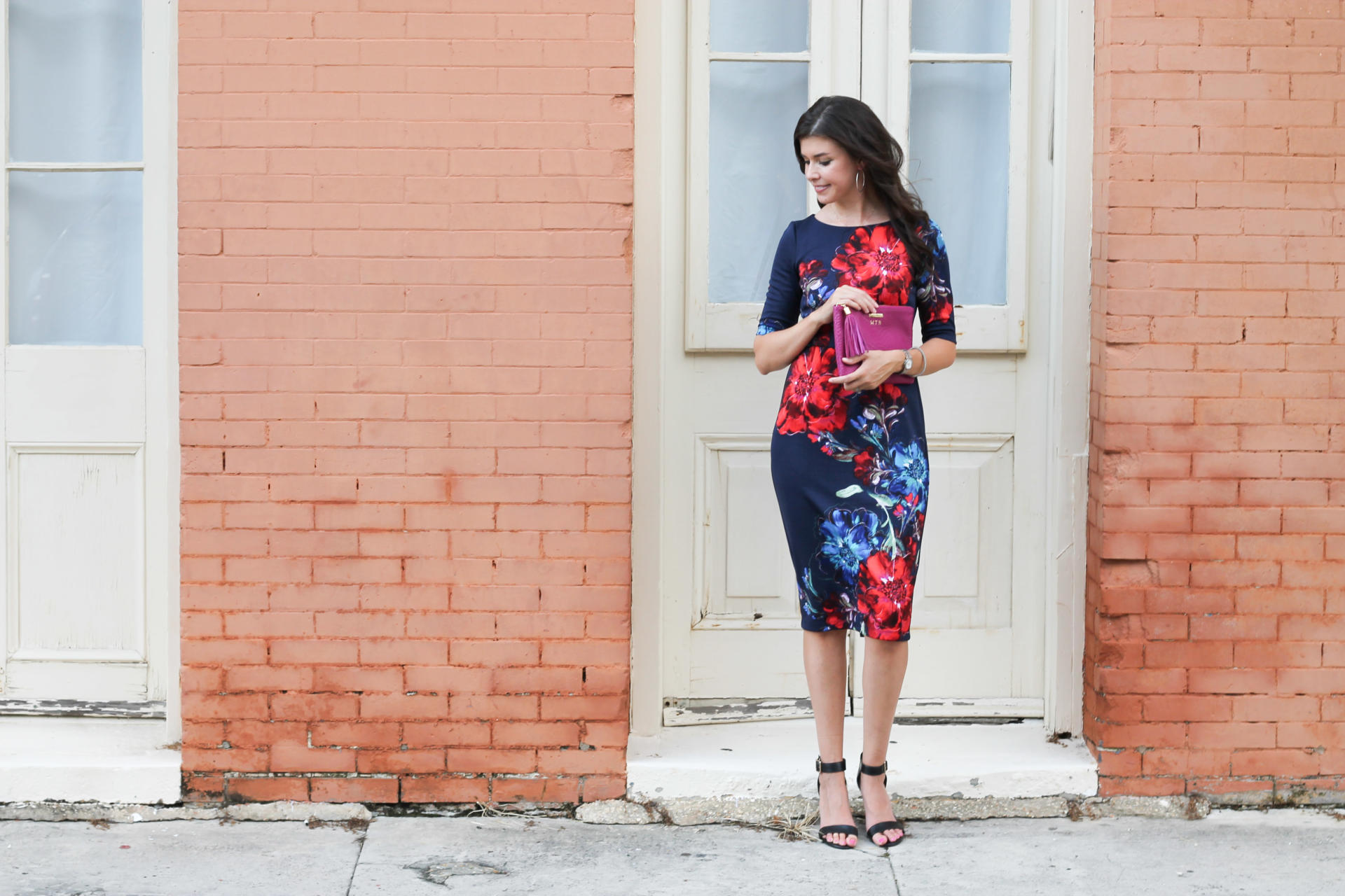 Navy Floral Dress With Maggy London