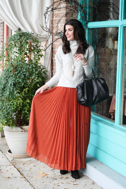 Pleated Fall Maxi Skirt