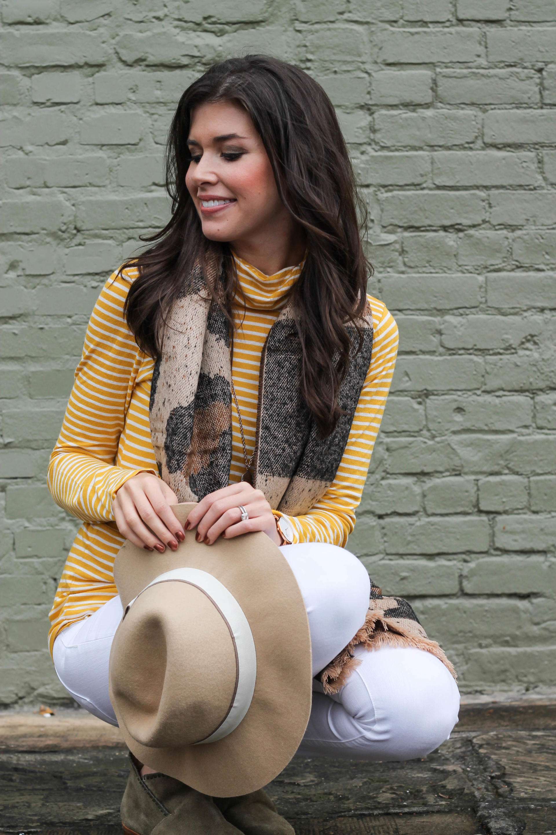 Striped Turtleneck and Leopard Scarf