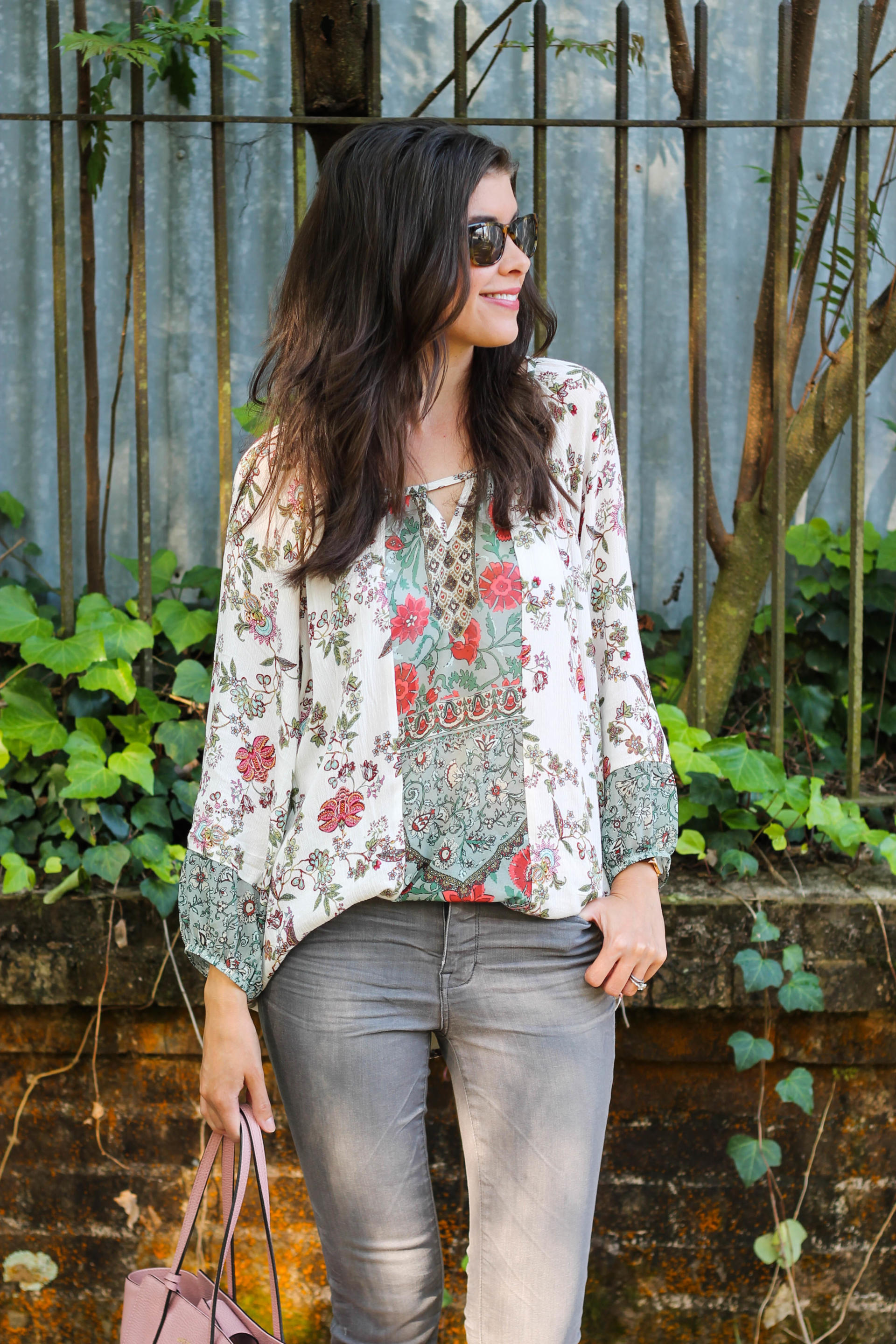 Floral Spring Peasant Blouse