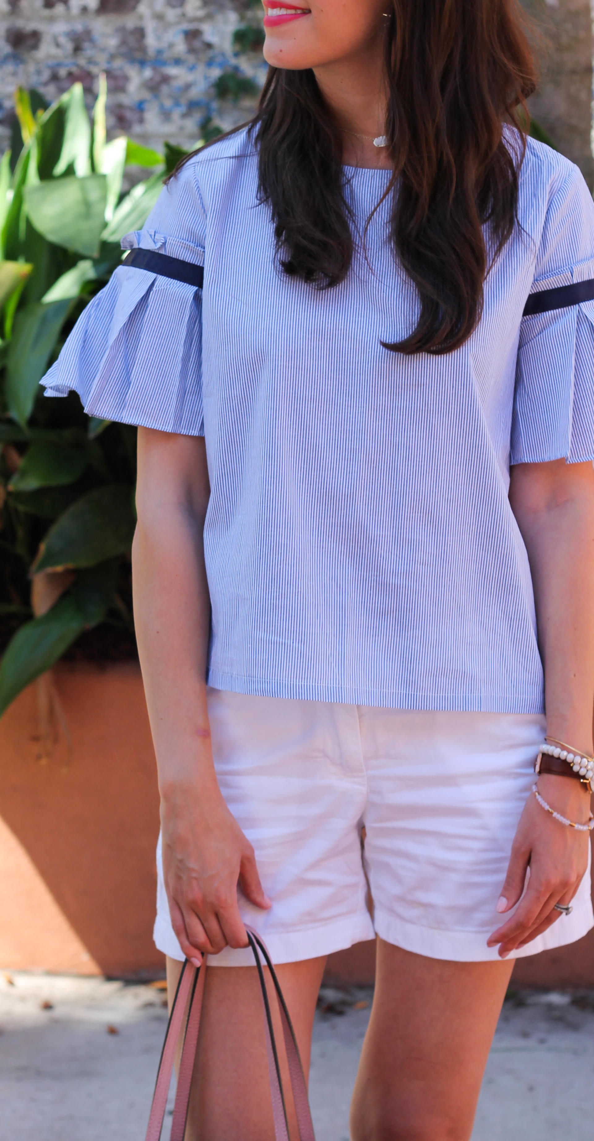 Blue Striped Blouse From Shein