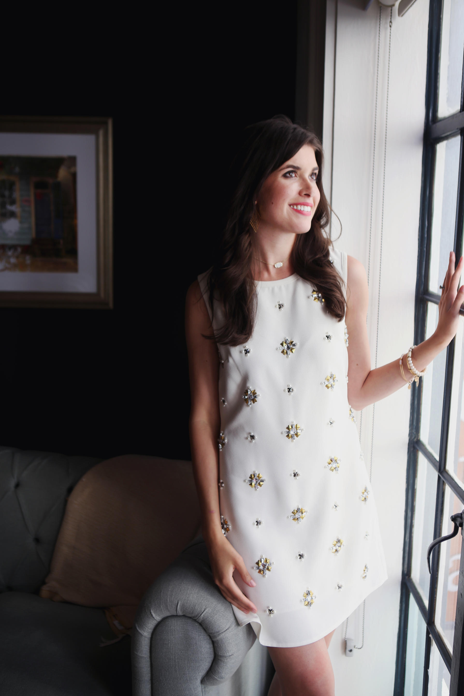 White Embellished Dress // Bridal Showers // Bachelorette Weekend