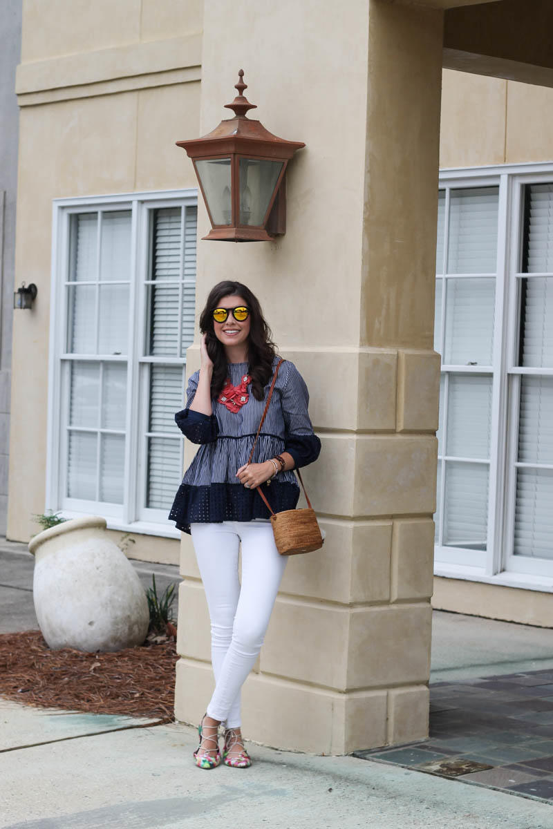 A Navy Eyelet Blouse and Mirrored Sunnies