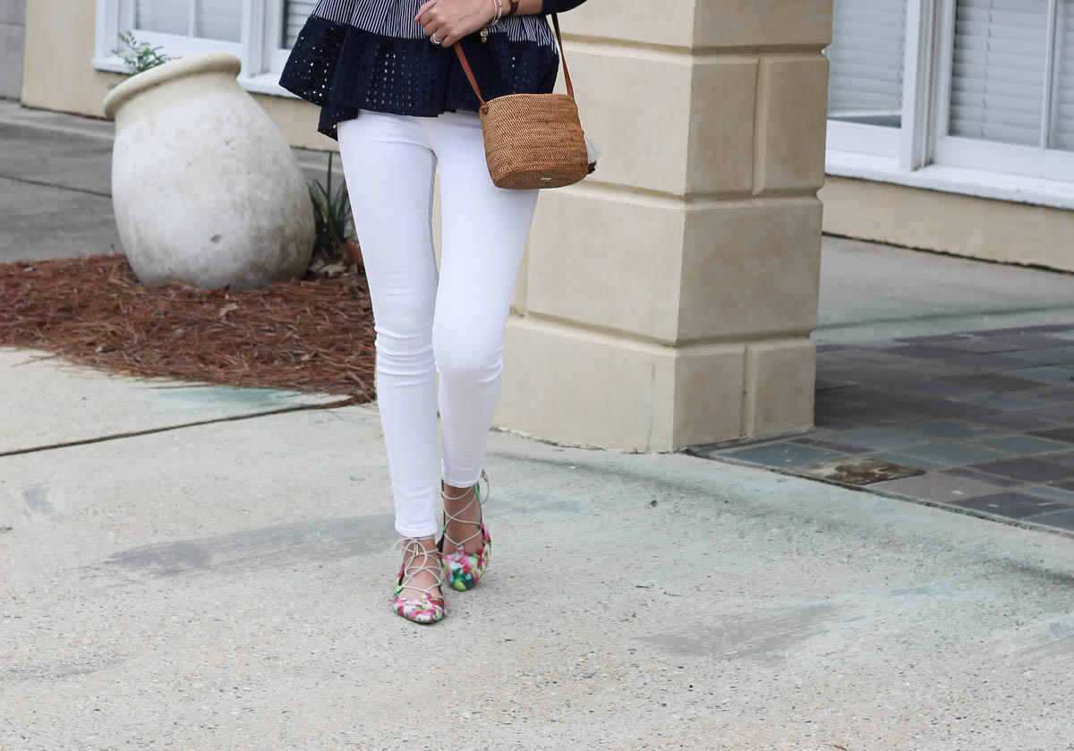 A Navy Eyelet Blouse and Floral Shoes