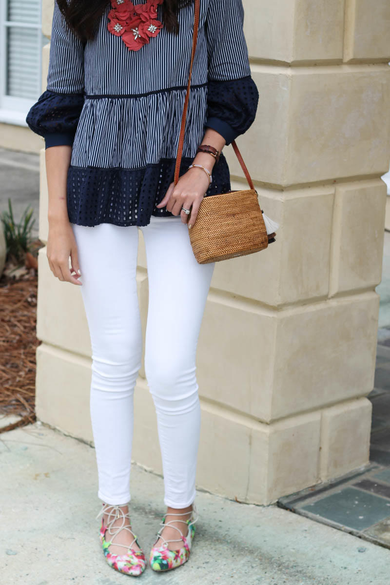 A Navy Eyelet Blouse and Straw Bag