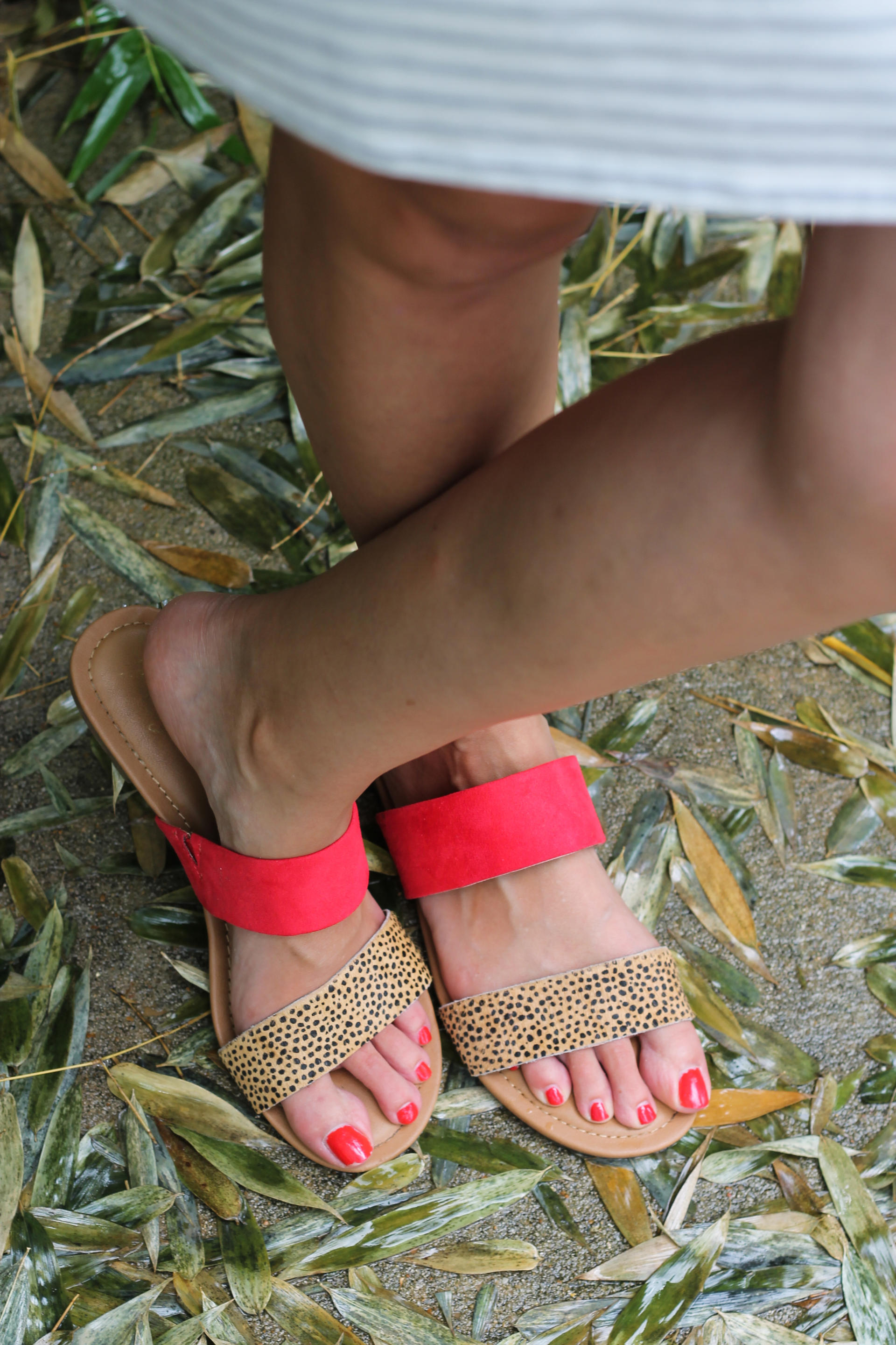 Red and Leopard Sandals