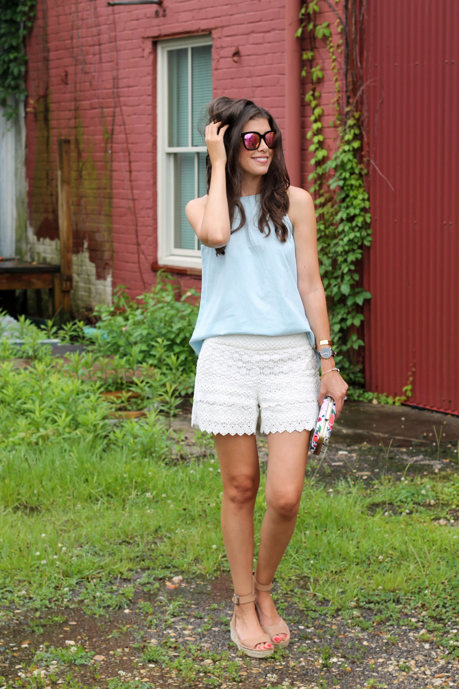 Lace Shorts & Chambray + Summer Unwind Time