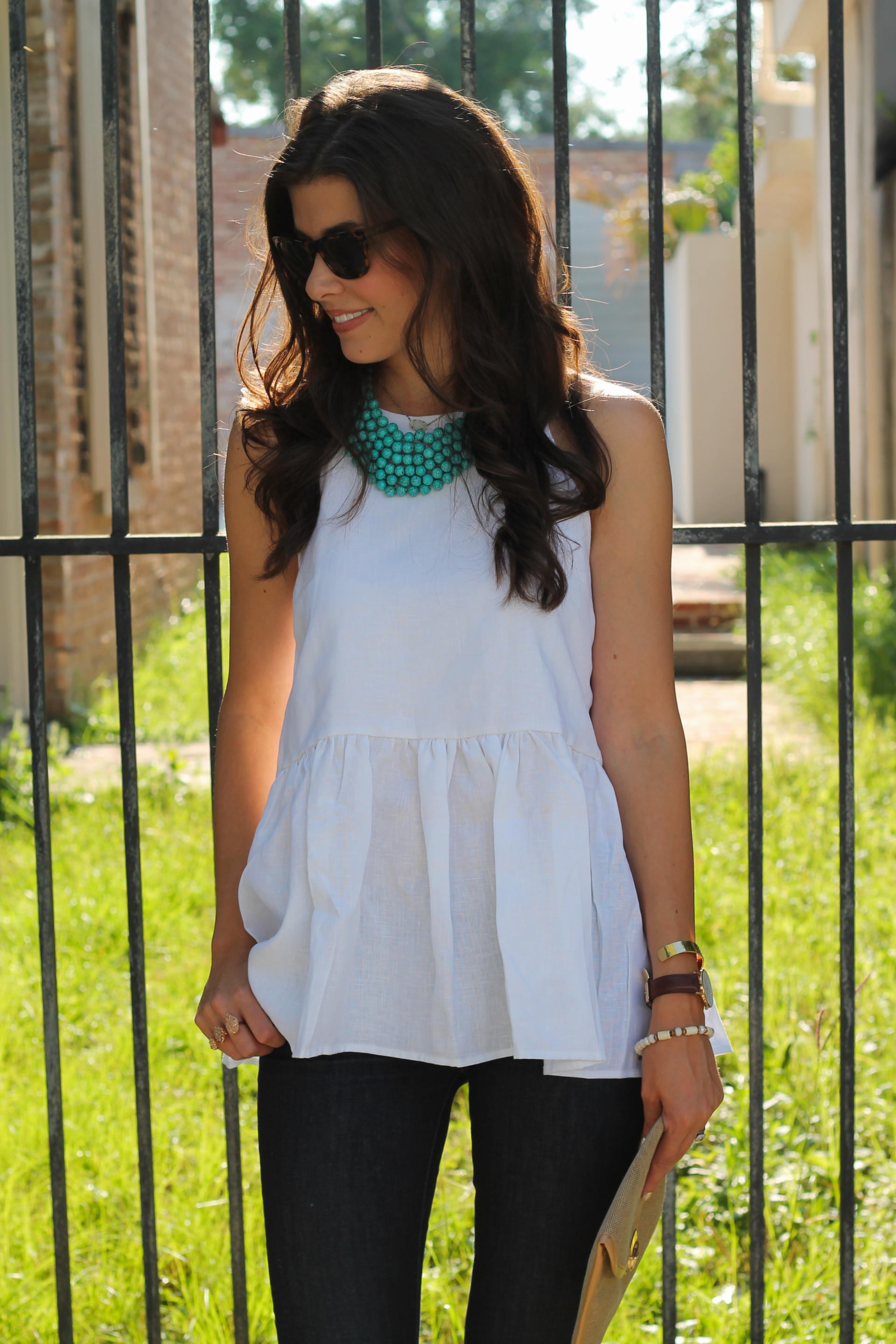 White Peplum Linen Top