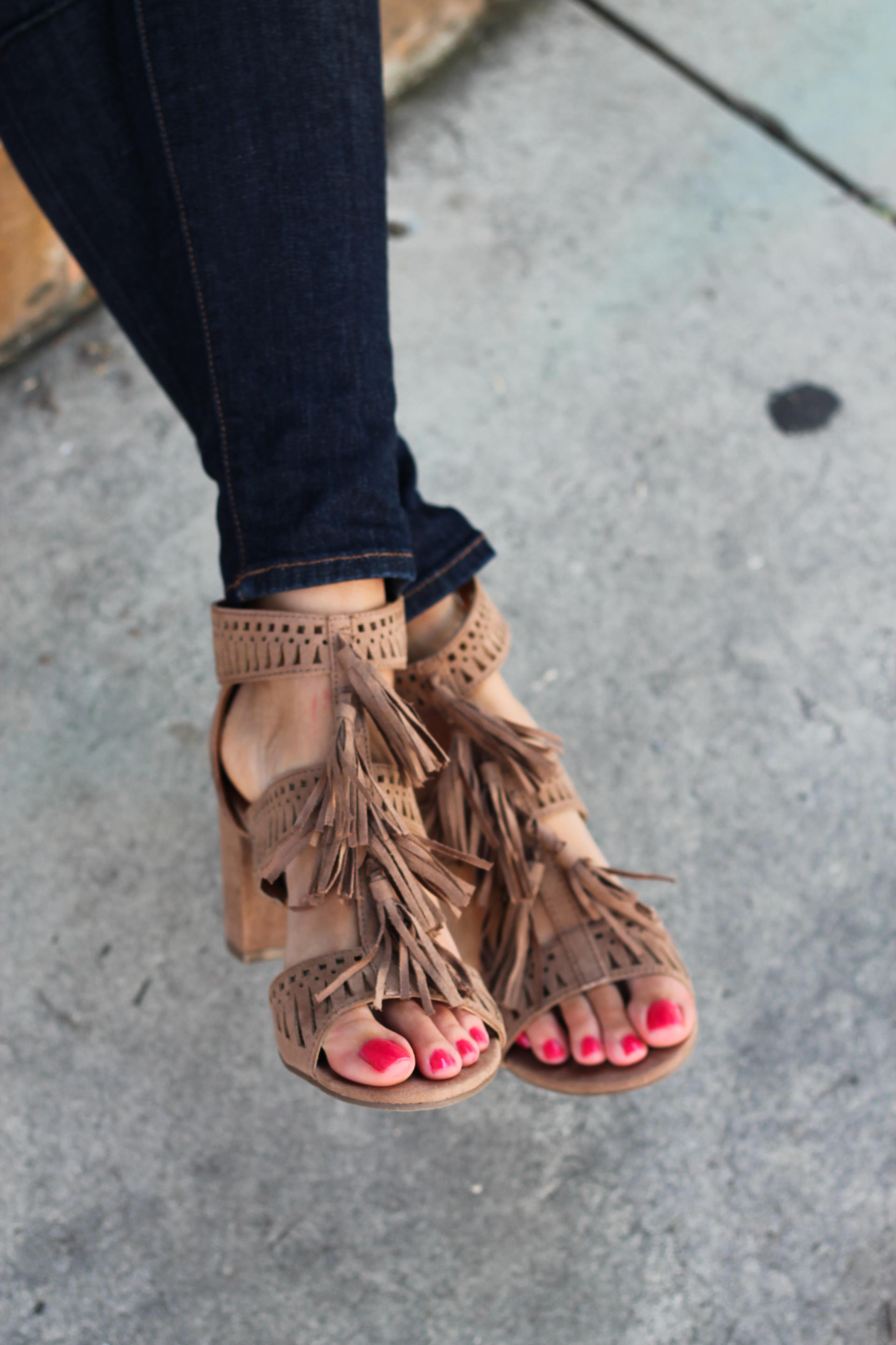 Tassel Sandals With Block Heel