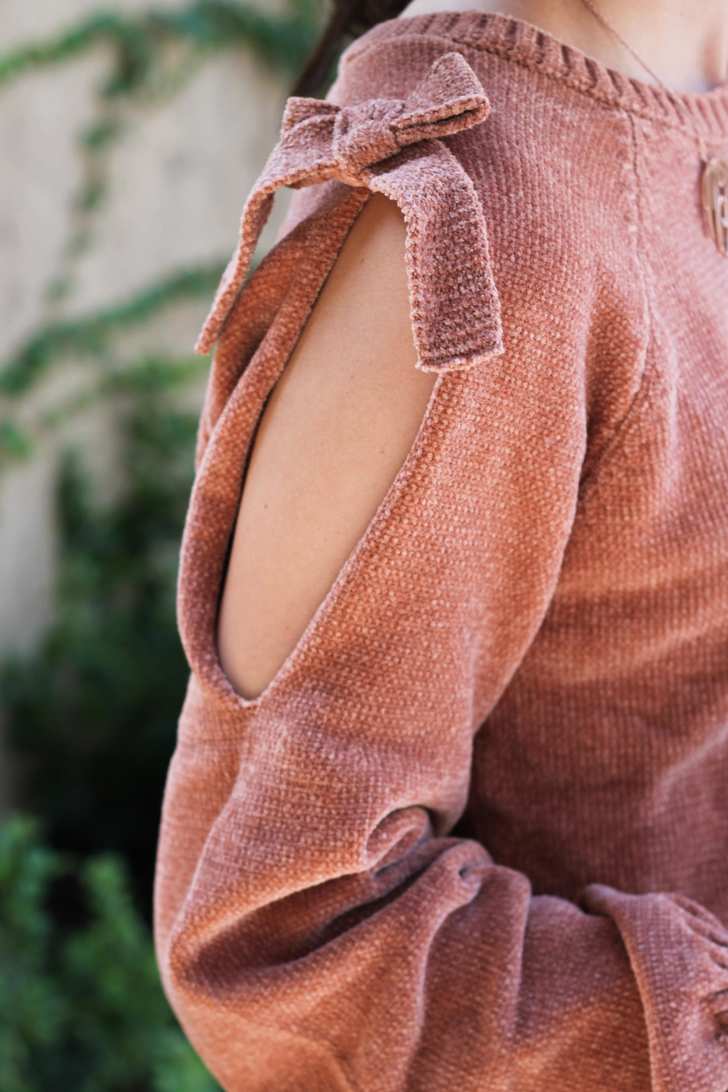 Cold Shoulder Bow Sweater