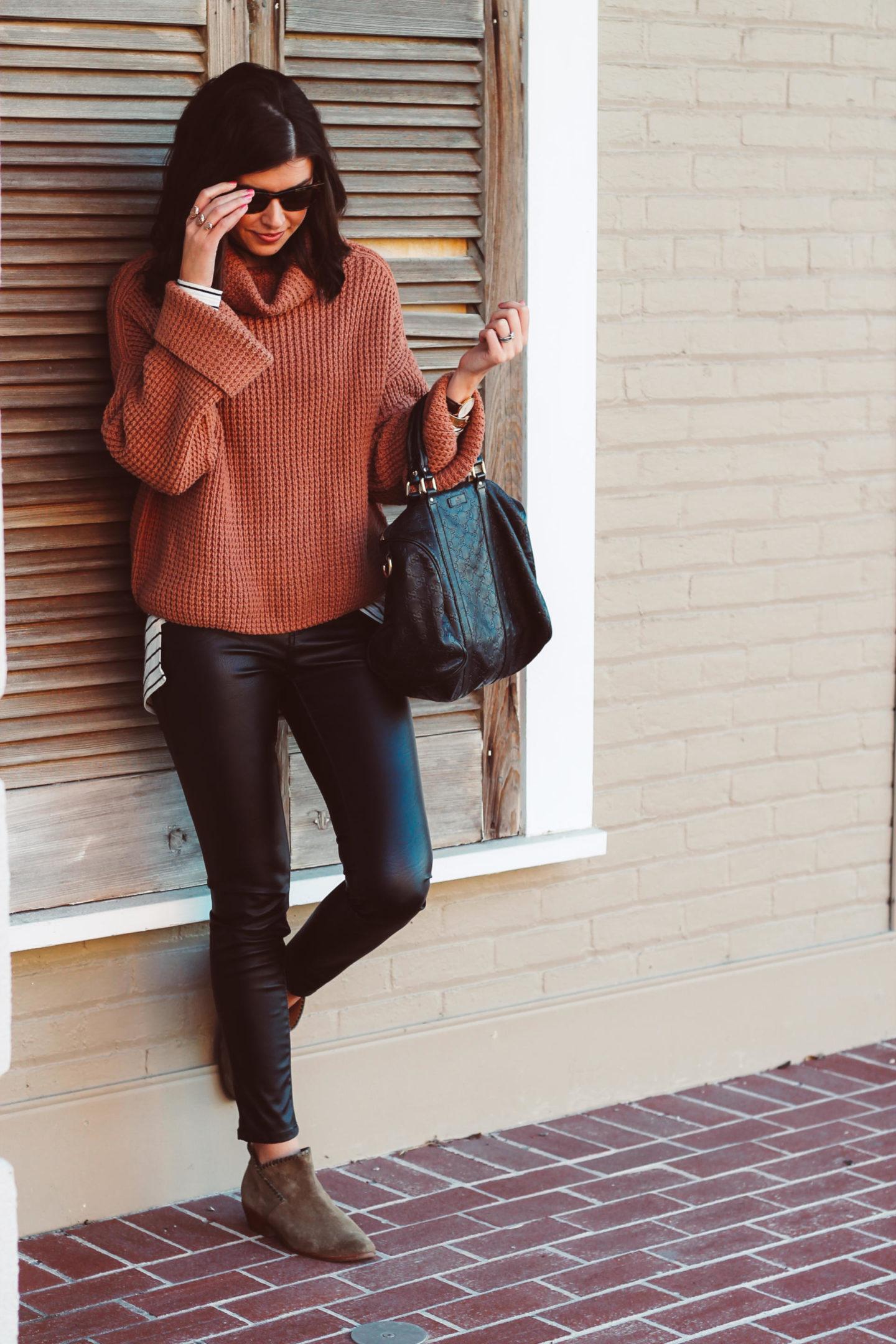 Chunky Waffle Knit Sweater & Leather Pants
