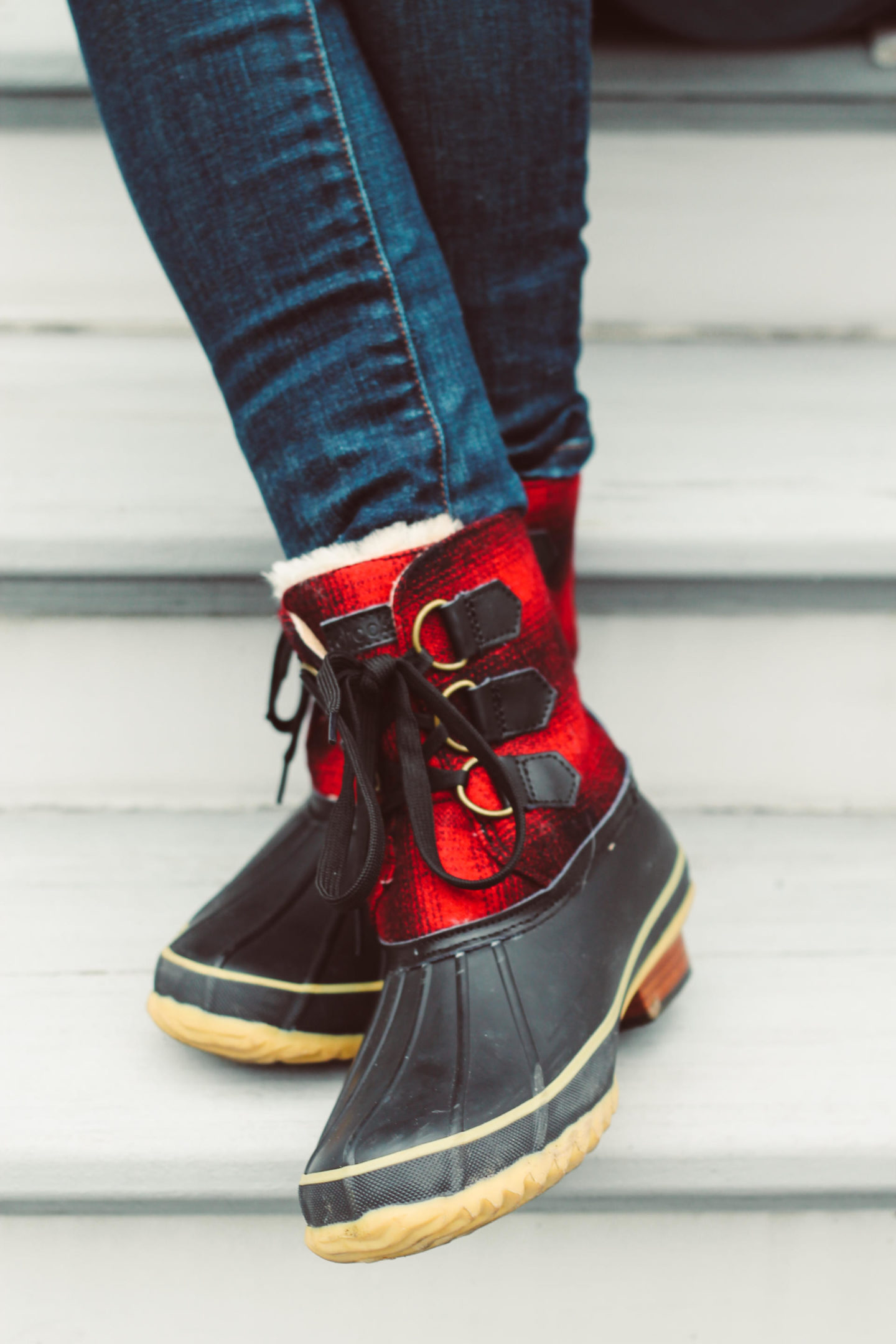 Buffalo Plaid Duck Boots